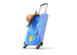 创意银行卡旅行箱摄影