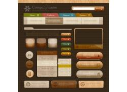 特色咖啡色导航按钮素材图片