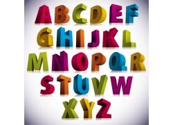 彩色立体英文字母