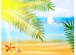 卡通帆船海滩插画图片