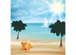 卡通阳光沙滩插画图片