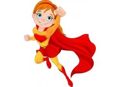 飞翔的卡通女孩超人图片