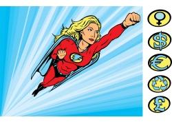 卡通美女超人与符号图片