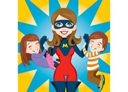 卡通超人美女与卡通儿童图片