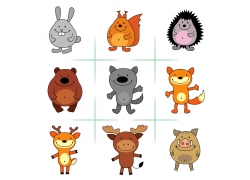 可爱的卡通动物们